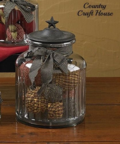 Large Decorative Glass Jars With Lids New Primitive Country Storage Canister Black Star Jar Metal Lid