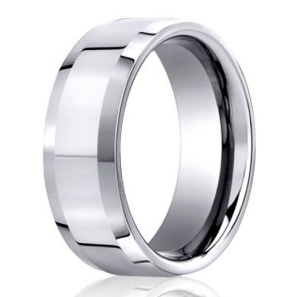 Designer 950 Platinum Polished Profile Mens Wedding Ring 6mm