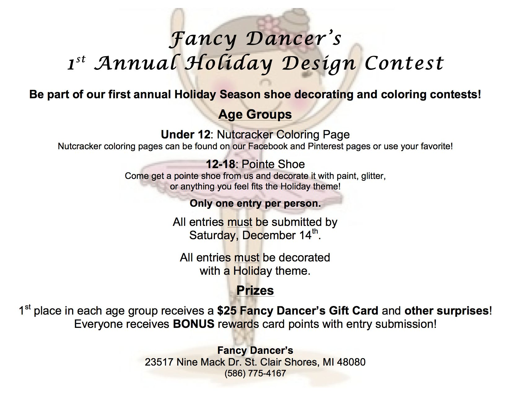 1st Annual Holiday Pointe Shoe Decorating And Coloring