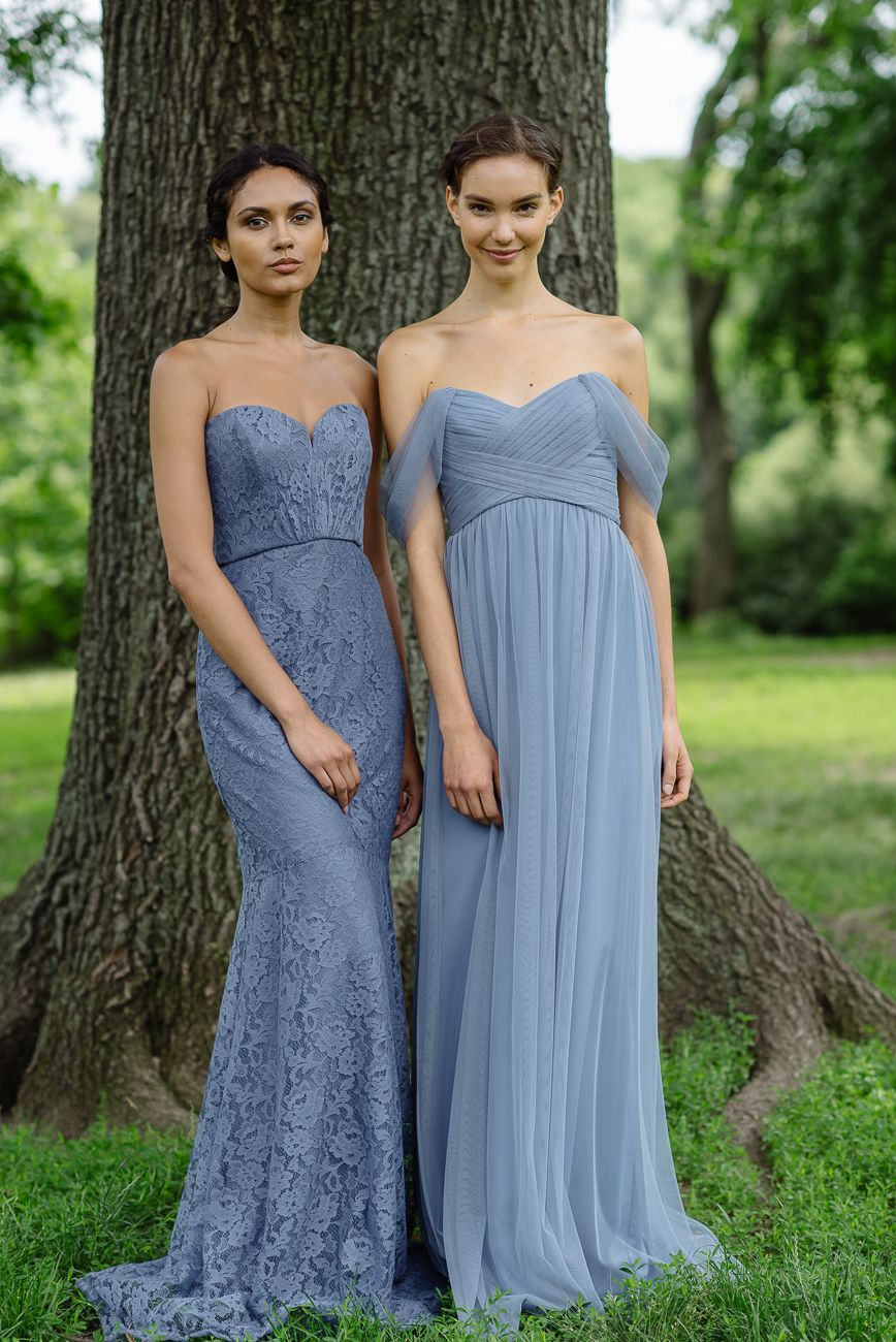 Amsale Tulle and Lace Bridesmaid Dresses in Slate - Left:G962L Right ...