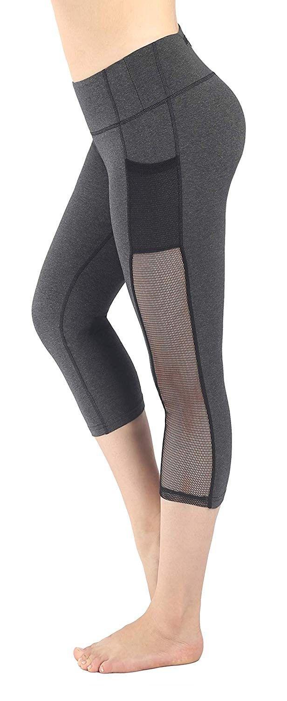 Women's Capri Tights Gym Workout Pants Running Leggings - Grey - CW17Z5OK726 - Sports & Fitness Clot...