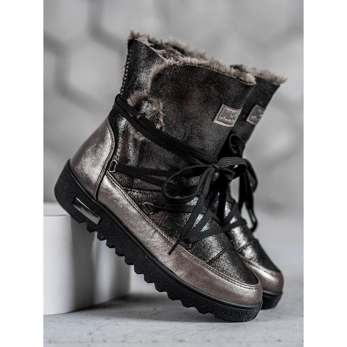 Sniegowce Z Brokatem Mckeylor Szare Boots Snow Boots Women Snow Boots