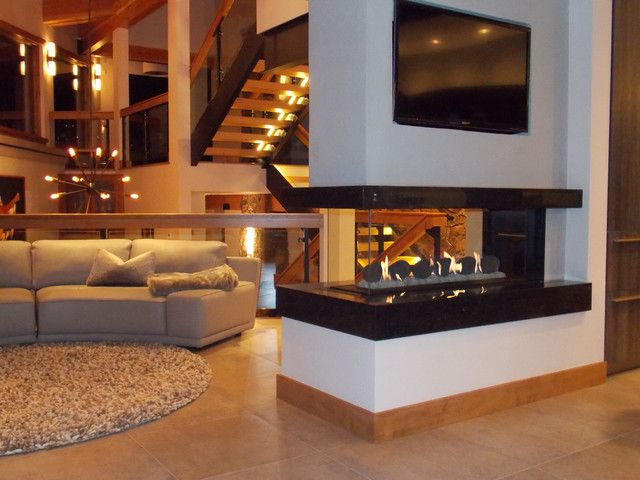 3 sided fireplace design pinterest living rooms basements