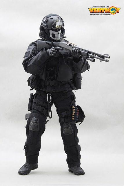 Black Knee Pads 1//6 Scale Toy Special Forces Night Ops