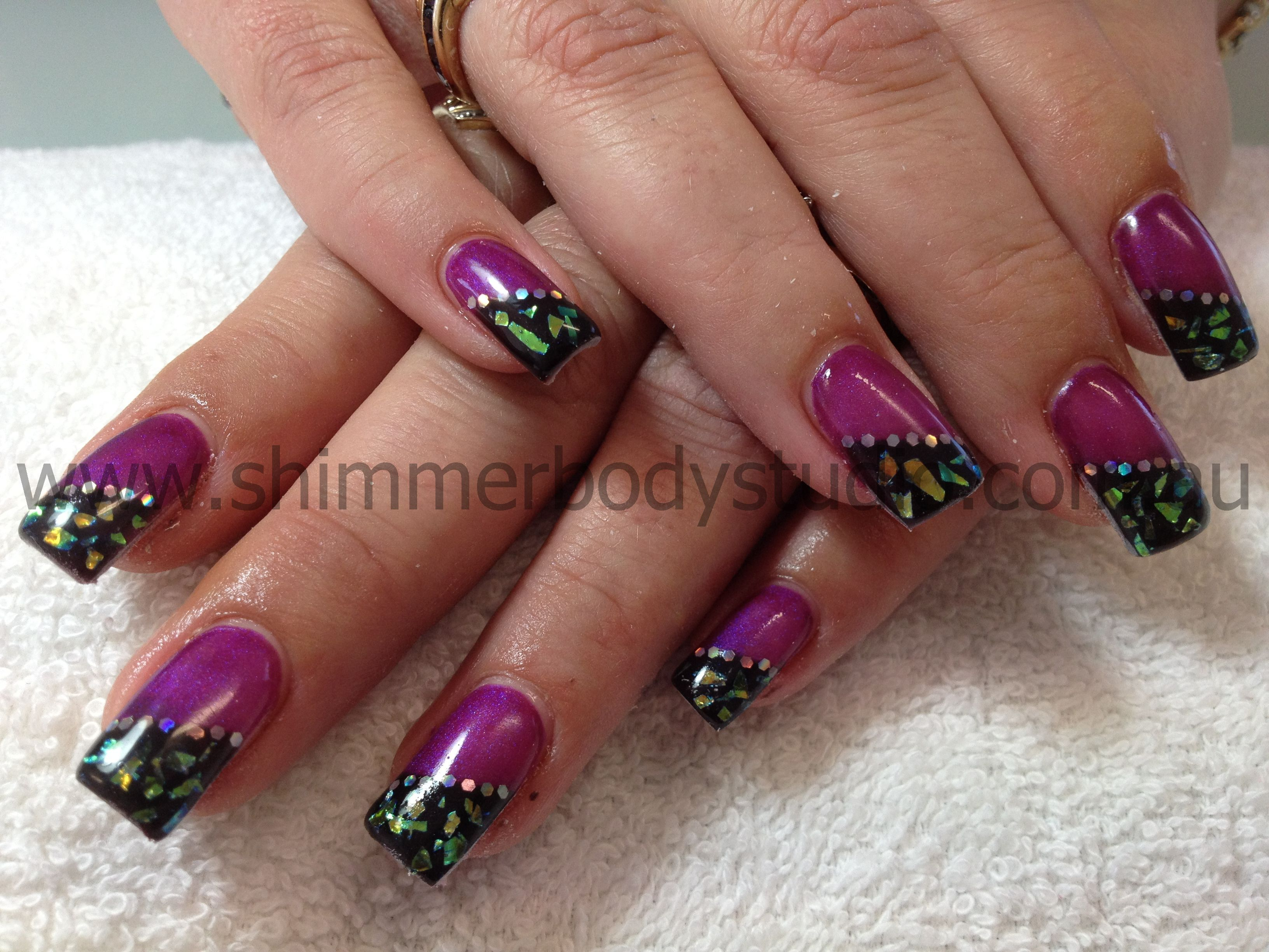 Gel nails purple and black nails mylar nail art by shimmer body gel nails purple and black nails mylar nail art by shimmer body studio prinsesfo Image collections