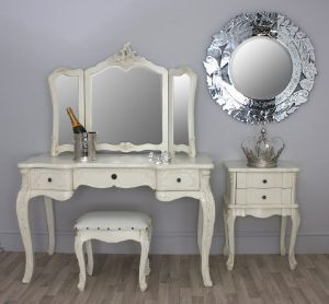 Chateau Large French Painted White Dressing Table & Triple Mirror - Sarah