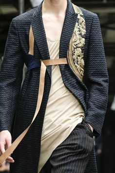 Dries Van Noten Menswear Spring Summer 2015 Paris. Another view of that Embroidered Holster-like vest. menswear, men's fashion and style