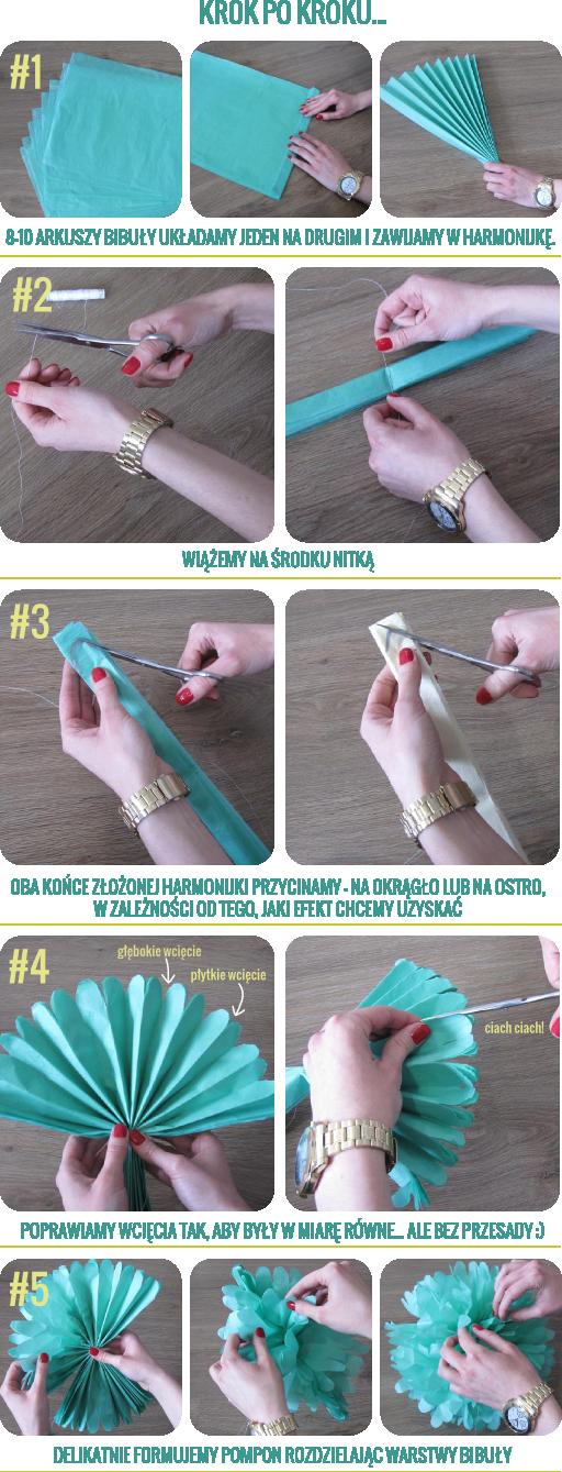 Kokoshka Blog Diy Kwiaty Pompony Z Bibuly Na Stylowi Pl Creative Kids Crafts Diy For Kids Flowers Diy