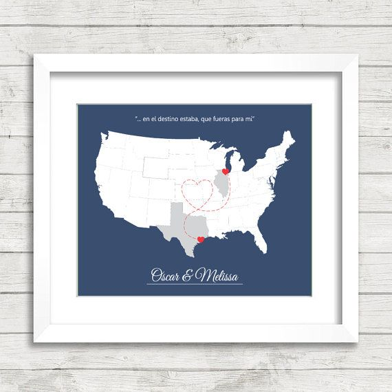 Wedding Gifts Chicago: 8x10 USA Love Map Long Distance Heart Trail By