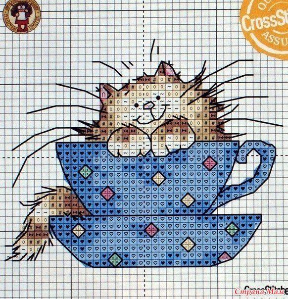 Вышивка крестиком котов и котят (схемы) - Котеко 63