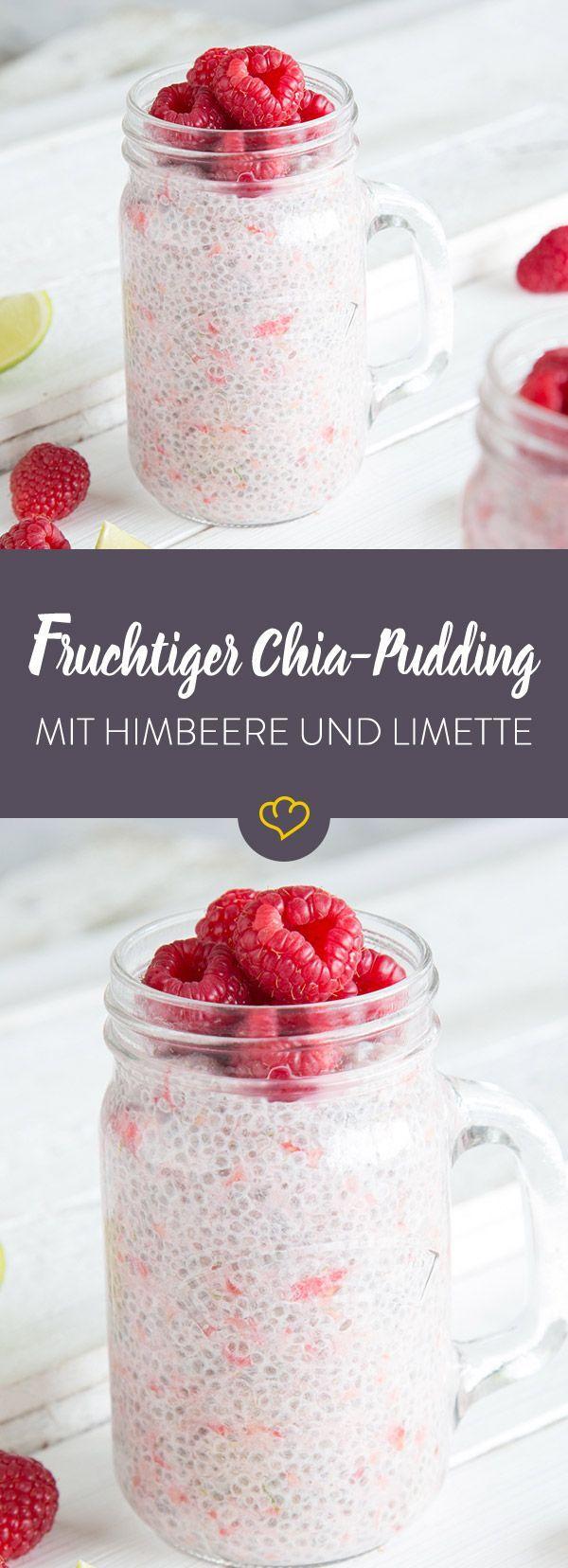 Fruchtiger Chia-Pudding mit Himbeeren und Limette #chiaseedpudding