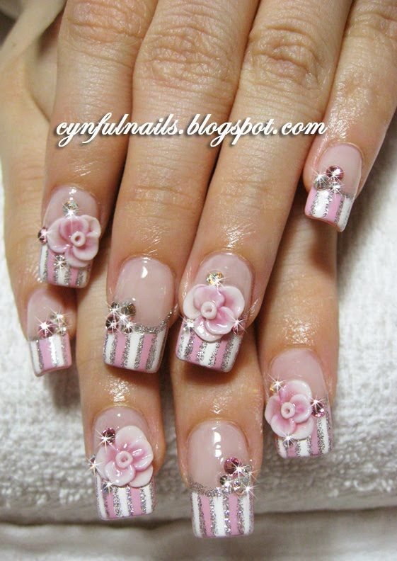 Pink Acrylic Nail Designs Teenage Glam Pink And White Acrylic