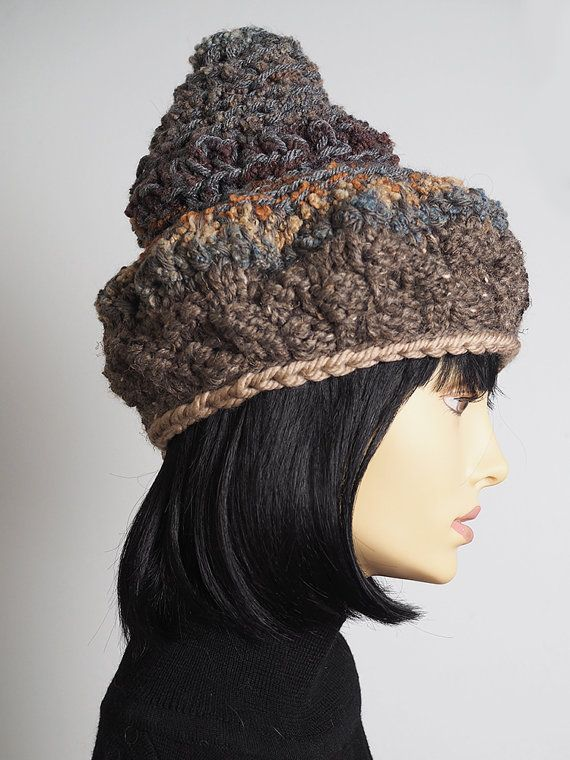 d0d27ea9498 taupe chunky knit hat   tall knit hat   brown by TheMastHatter ...