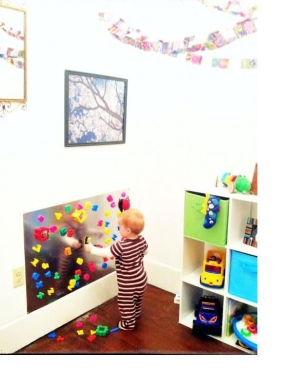An Awesome Magnet Board For A Childs Playroom Kids Playrooms - Magnetic board for kids room