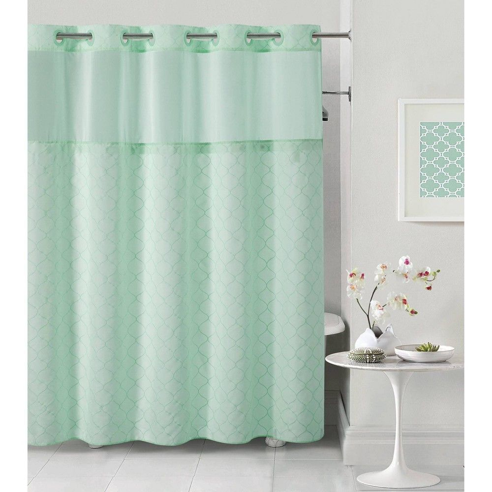 Hookless Mosaic Embroidery Shower Curtain With Liner Aqua Blue In