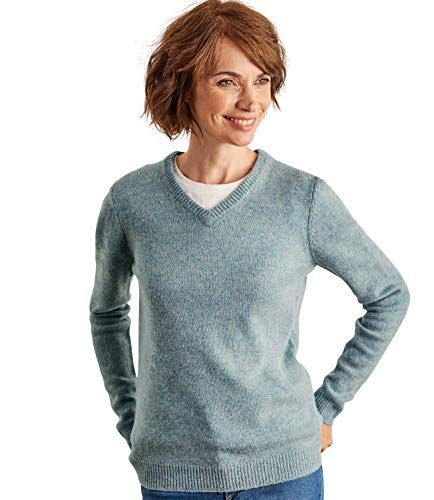 decdc8df772294 Woolovers Womens Lambswool V Neck Jumper Frosted Green L | Women's ...