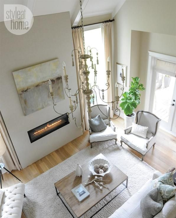 Interior Design Inspiration Photos By Laura Hay Decor Design: Two-story Living Room Features Cathedral Ceiling Accented
