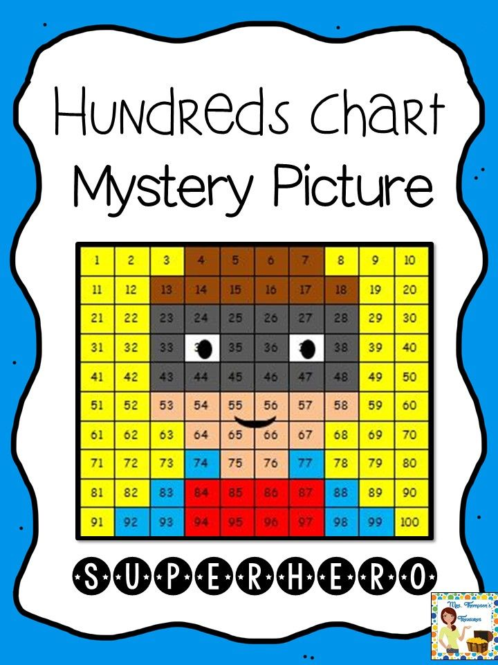 Free  Hundreds Chart Mystery Picture  Superhero Fun Way To