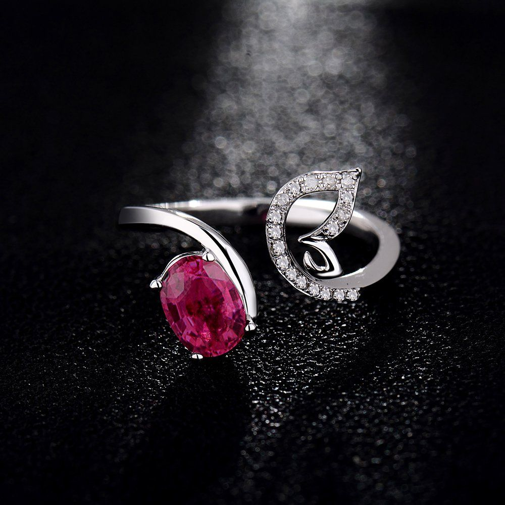 Women's Solid 14K White Gold Natural Oval Tourmaline Diamond Ring: Jewelry