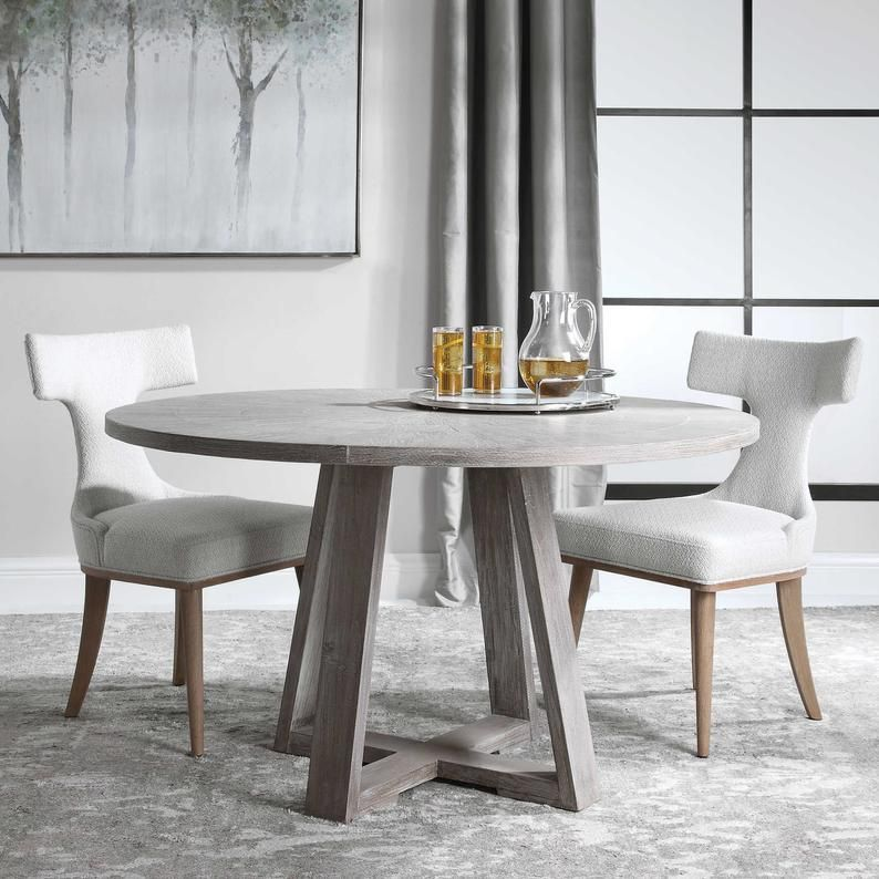 Round Glass Dining Table Round Glass Table With Wooden Base Etsy Grey Dining Tables Round Wood Dining Table Round Dining Table