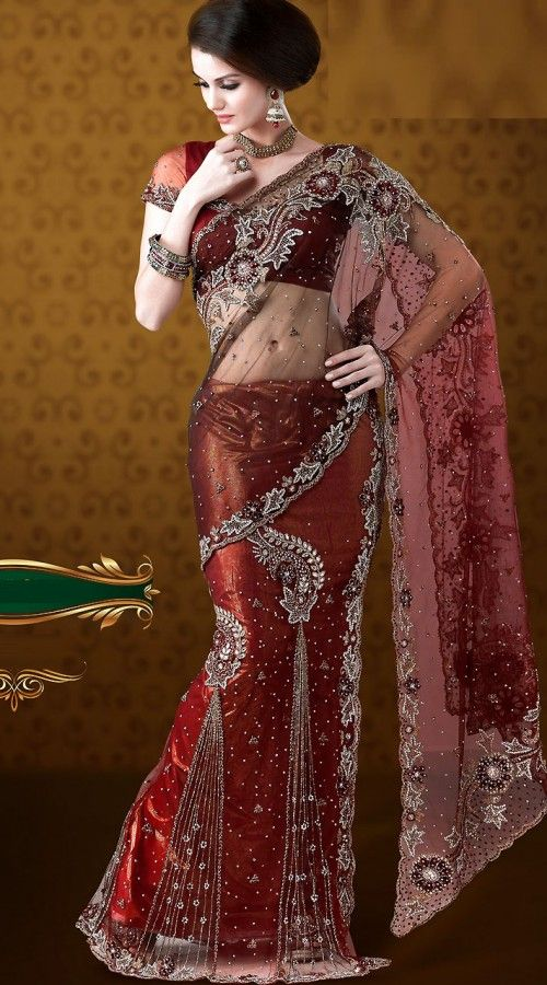 #Maroon #Designer Netted #Saree  Check out this page now :-http://www.ethnicwholesaler.com/sarees-saris