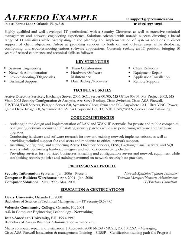 IT Functional Resume Sample Good To Know Pinterest - key competencies resume