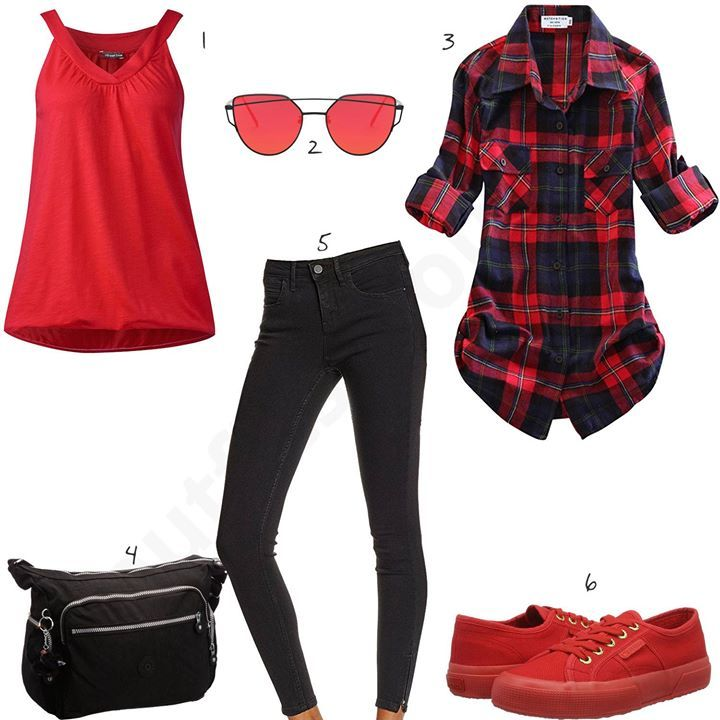 cheaper bb40a de407 Schwarz-Rotes Damen-Outfit mit Flanell Hemd (w0578)   other ...