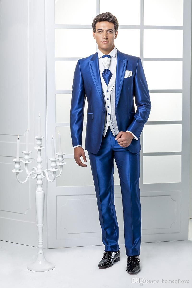 2017 New Arrival One Button Italian Blue Mens Suits Jacket+Pants+Tie ...