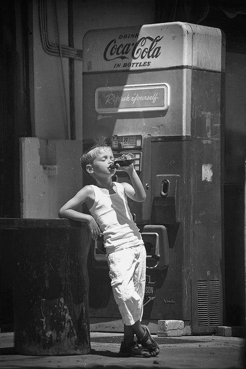 One Pinner Wrote: I think coca-cola should stop making ads and just use this forever Old Coca-Cola vending machine ~young boy drinking the Coca-Cola.