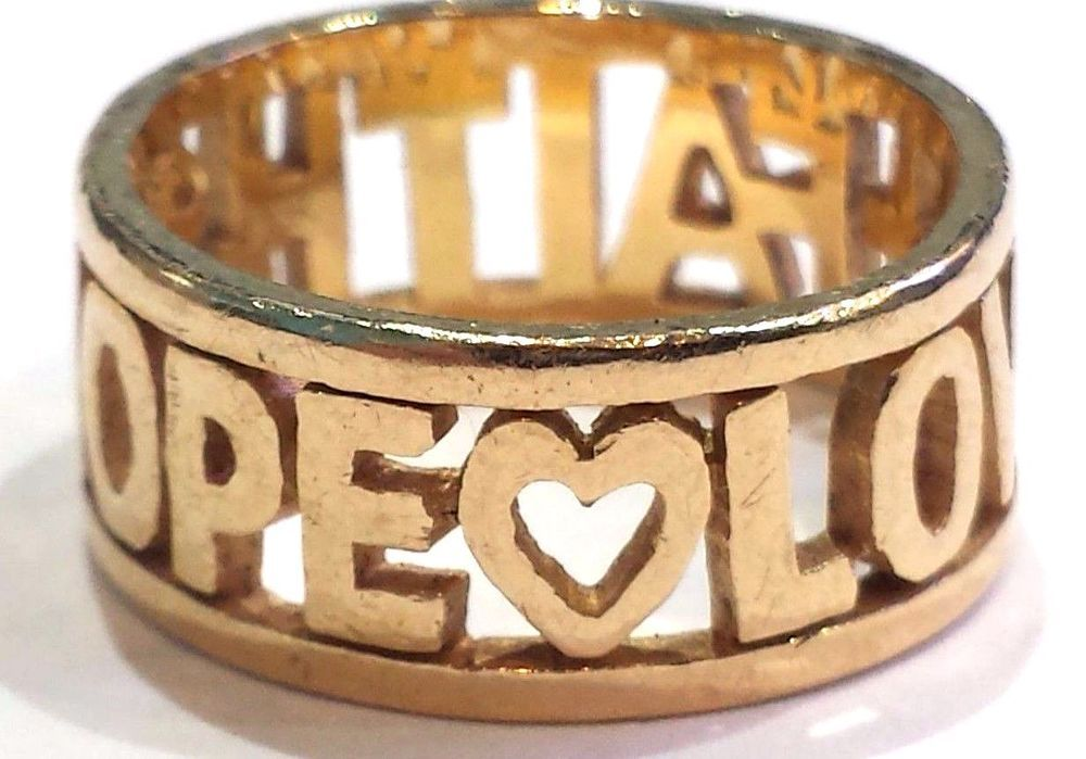 James Avery 14k Yellow Gold Faith Hope Love Ring Size 7 All