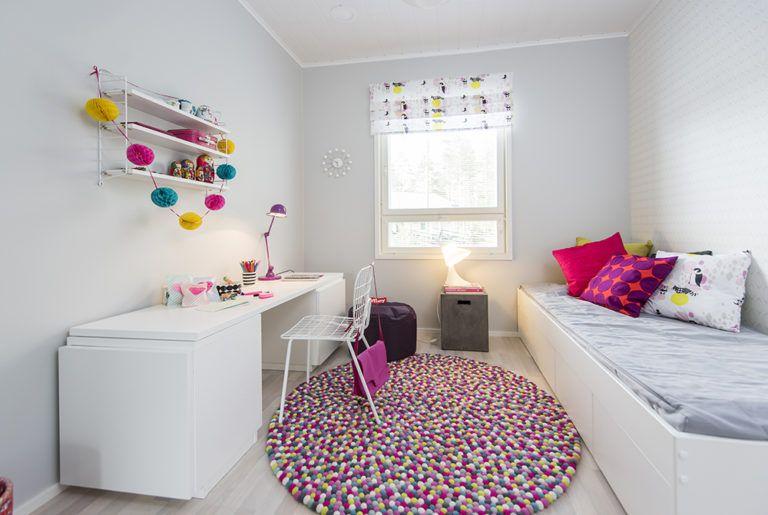 Värikäs lastenhuone Design-Talo Triossa Seinäjoen asuntomessuilla 2016.
