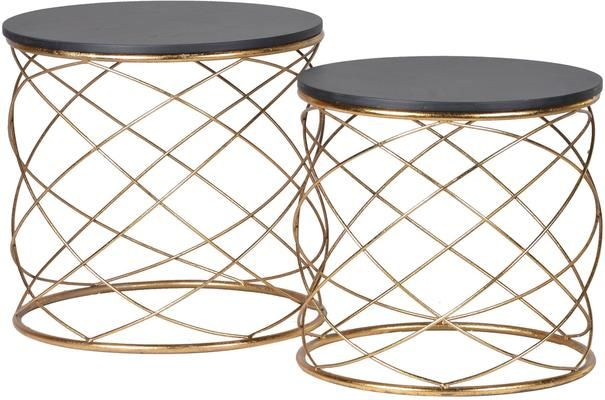 Pair Of Round Side Tables With Spiral Metal Table