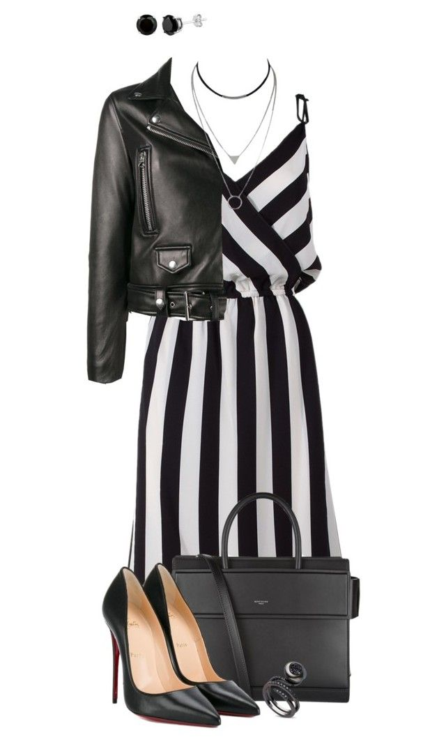"""Striped"" by espritducoeur ❤ liked on Polyvore featuring Marc Jacobs, Acne Studios, Givenchy, Christian Louboutin, stripes and blackandwhite"