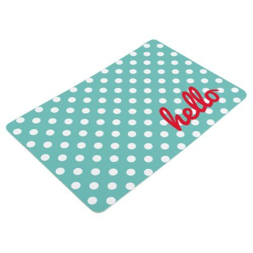 Best White Polka Dots On Light Teal Personalized Floor Mat 640 x 480
