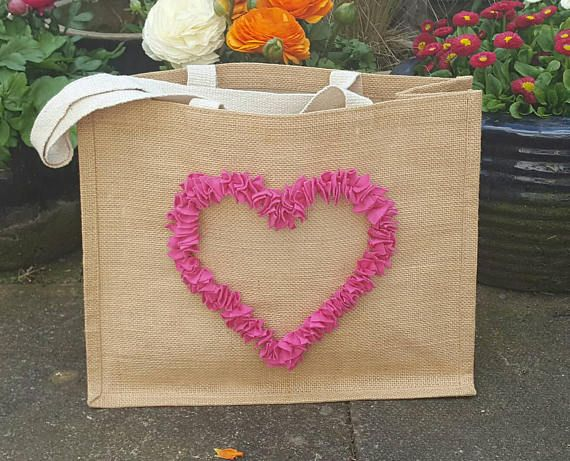 Pink Rag Rug Heart Hessian Bag For Life Ping