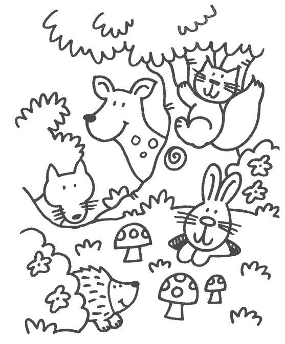 some coloring pages in the theme forest animals for preschoolers ...