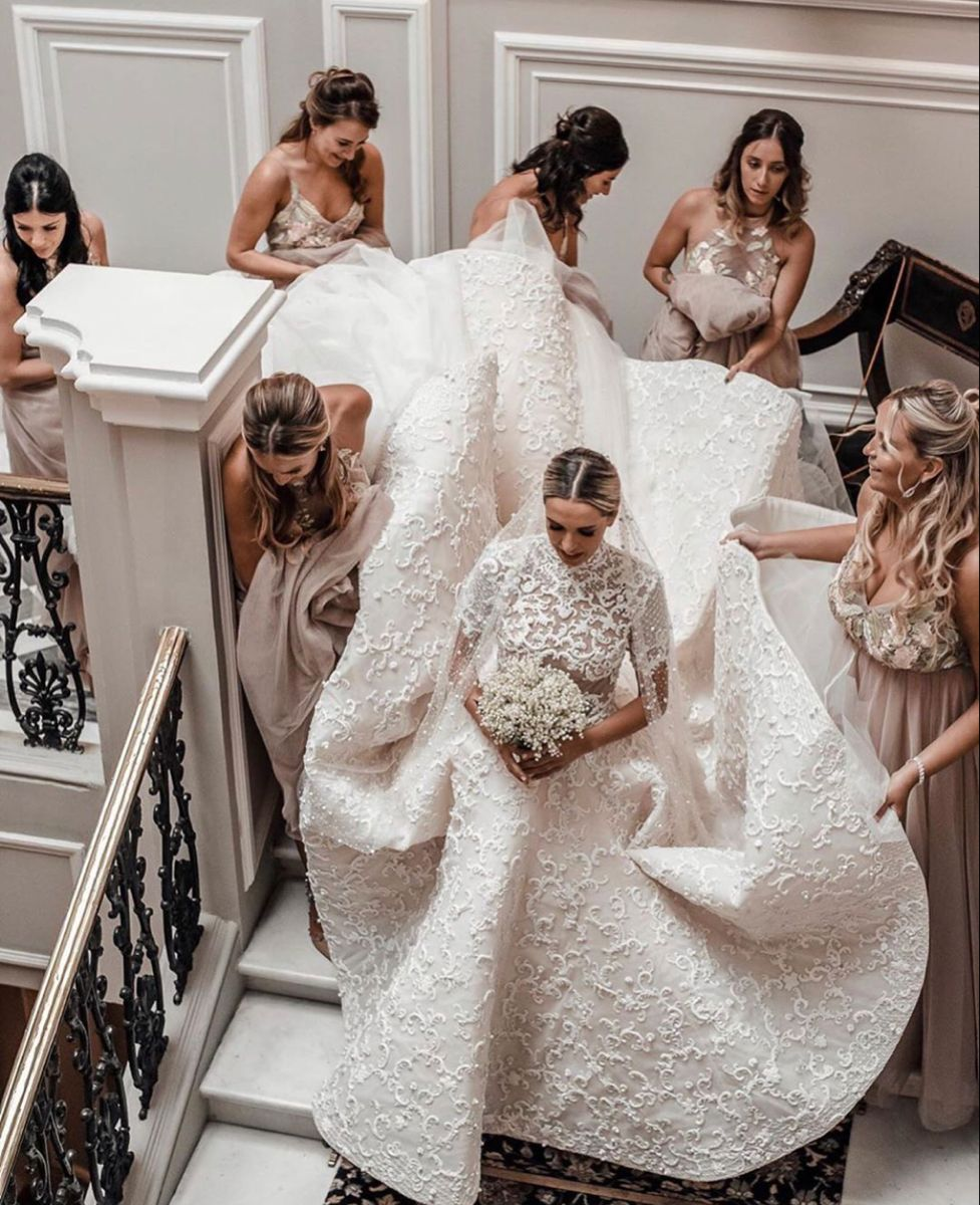 Having Your Girls Always By Your Side Christian Wedding Gown Wedding Gowns Bride Wedding Inspiration