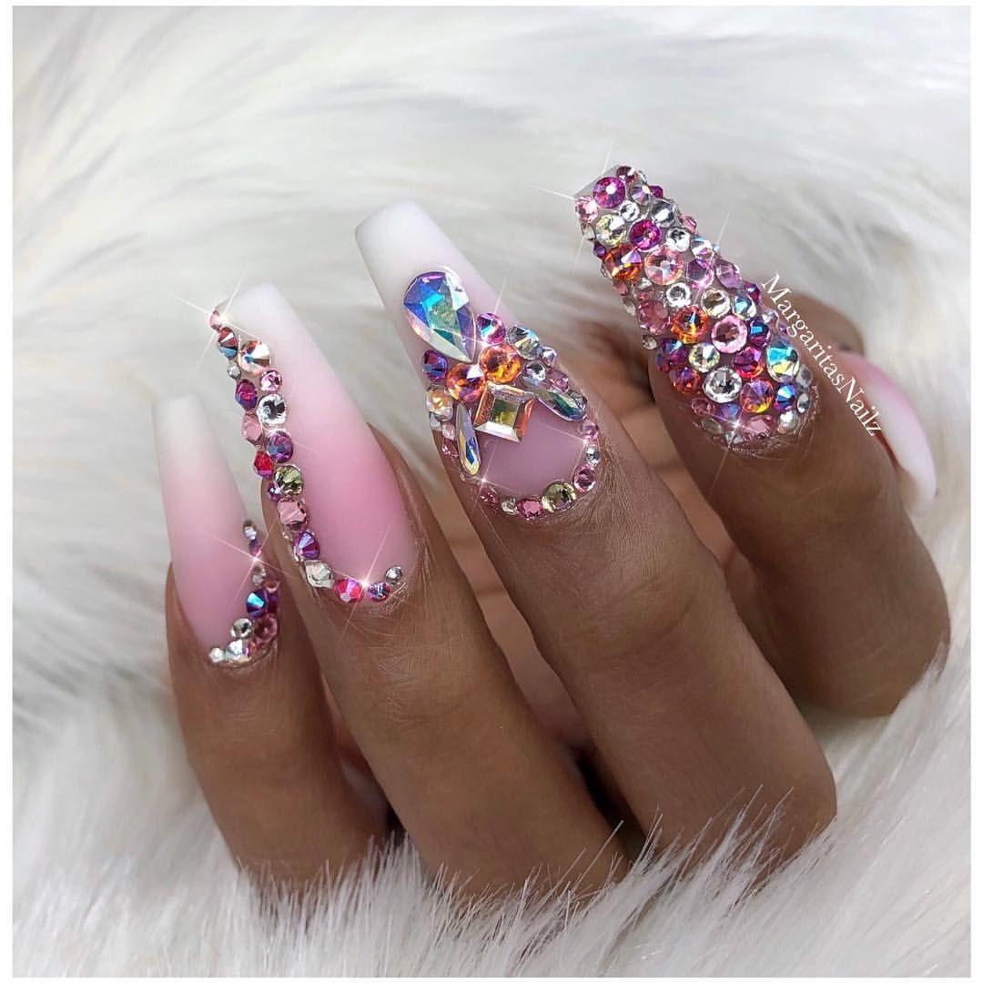 Pink and white ombré coffin nails matte nail design Swarovski Bling ...
