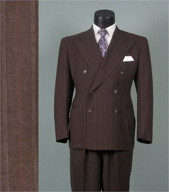 Vintage 1940s Mens Suit -- 1941 Brown w Pinstriping Wool Peaked ...