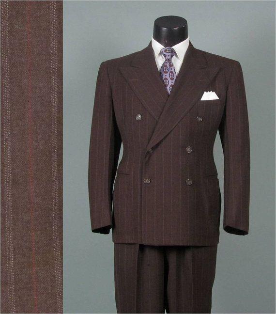 Vintage 1940s Mens Suit -- 1941 Brown w Pinstriping Wool Peaked ...