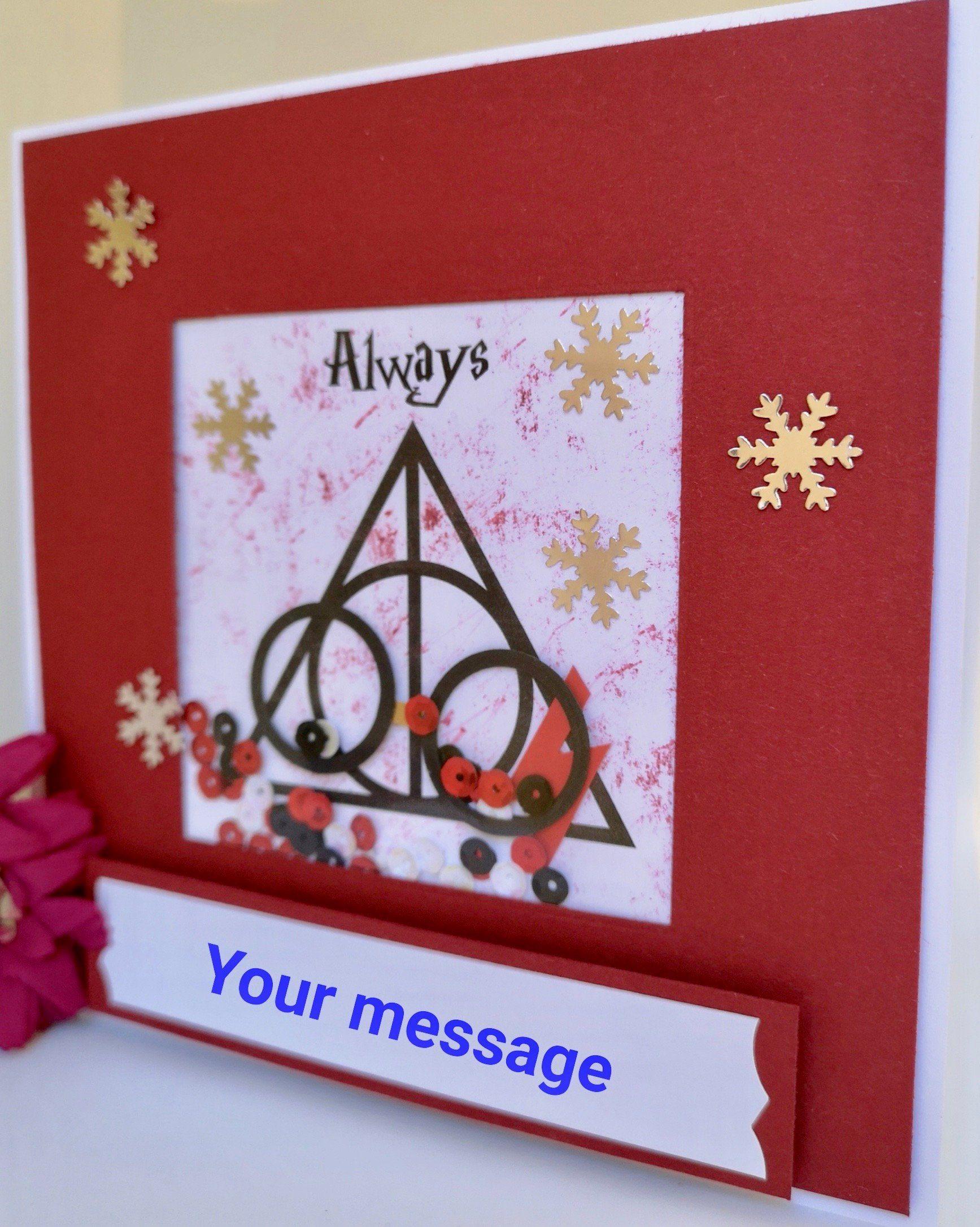 Personalised Harry Potter Shaker Christmas Card Always Hogwarts Glasses Scar Sequins Snowflakes Handmade Kids Adults By Brig Handmade Kids Etsy Christmas Cards