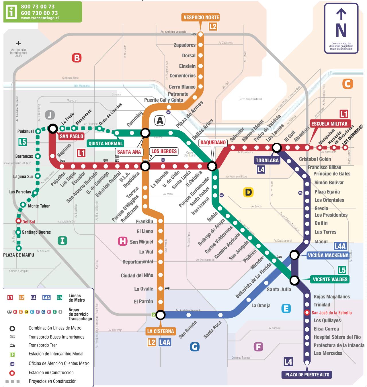 Santiago Subway Map.Santiago Metro Maps Bus Route Map Map Bus Route
