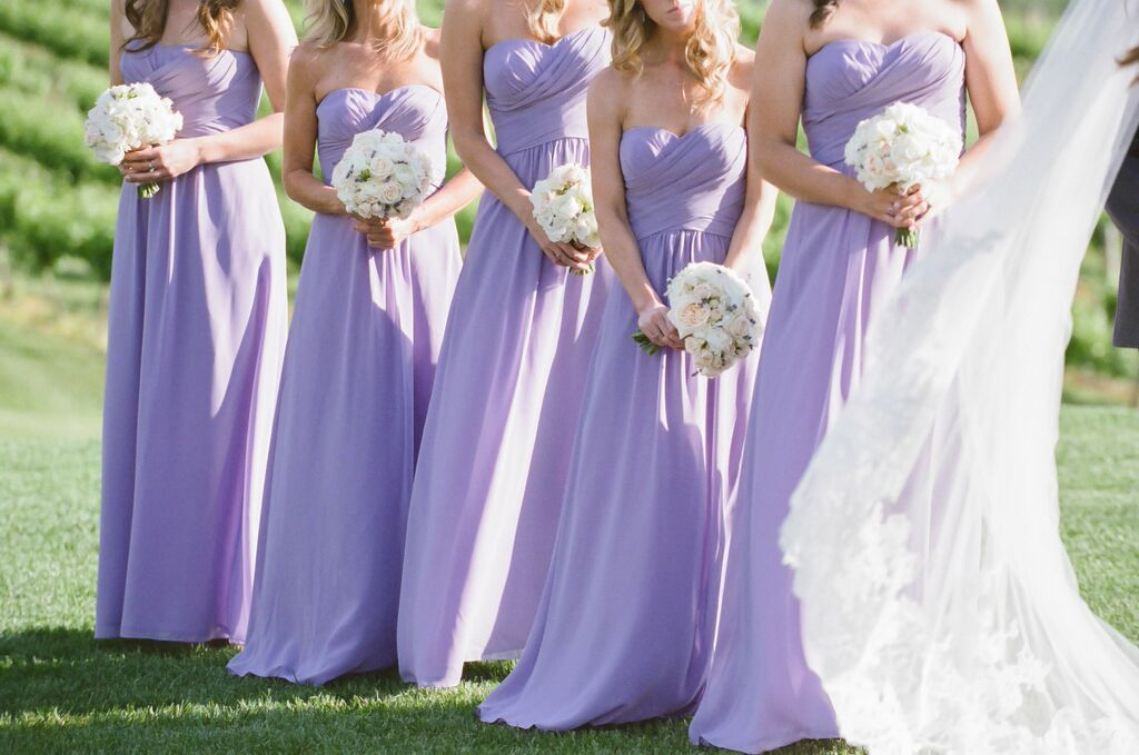 Jana\'s bridesmaids wore Dove & Dahlia dresses in French Lilac from ...
