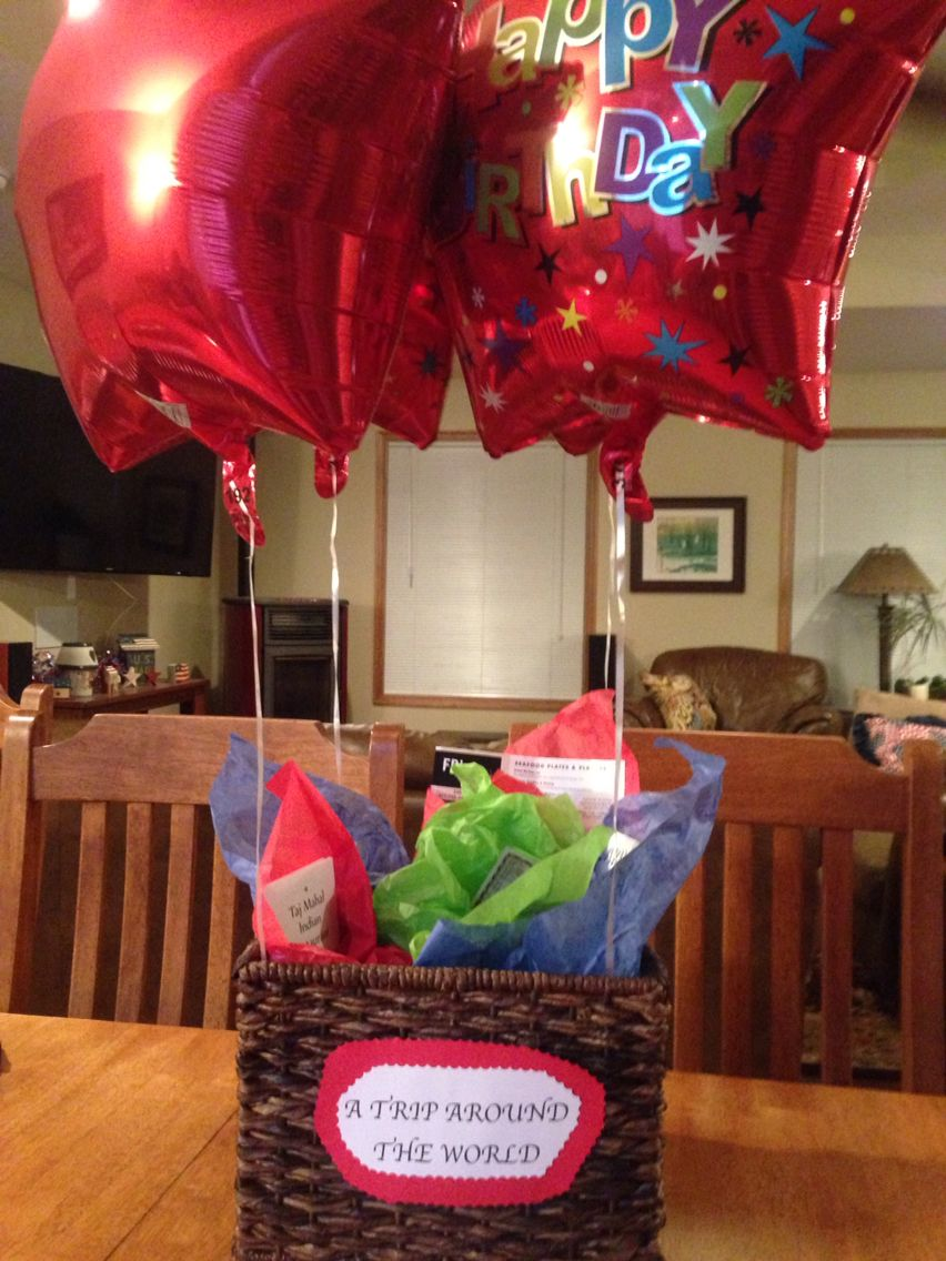 Husband Birthday Gift Idea Wicker Basket With Helium Balloons Filled Certificates For Different Ethnic Restaurants To Try