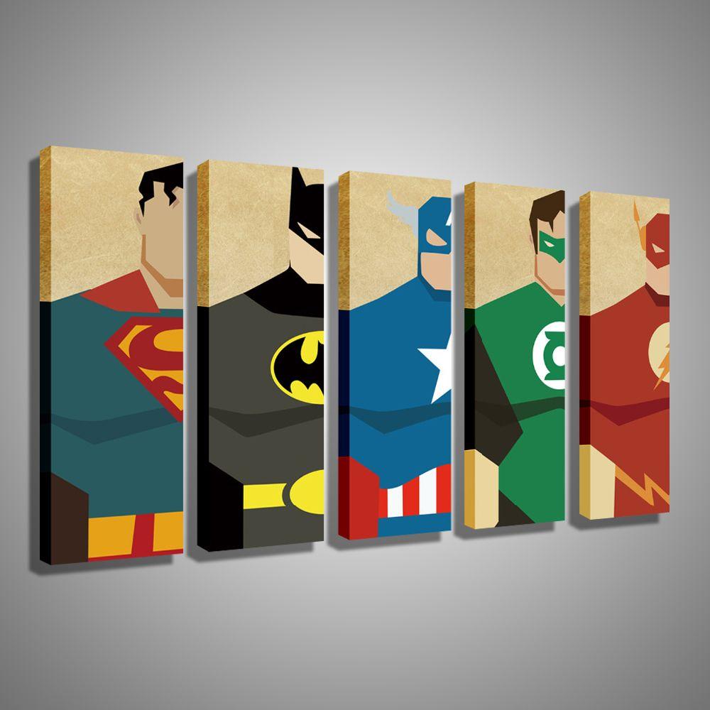 Oil Painting Canvas Super Hero Superman Batman Cartoon ...