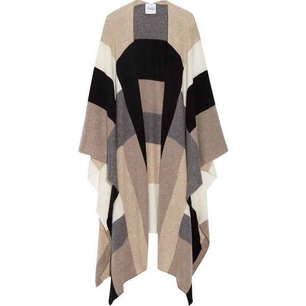 Color-block cashmere wrap, Madeleine Thompson (1.460 BRL) ❤ liked on Polyvore featuring outerwear, cardigans, jackets, coats, sweaters and madeleine thompson