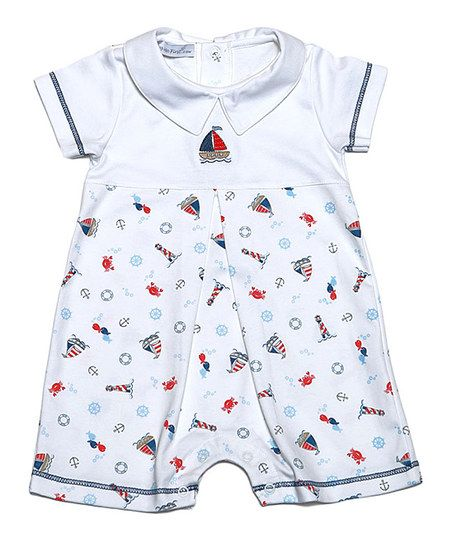 Hug Me First White & Blue Sailboats Peter Pan Collar Pima Romper - Infant | zulily