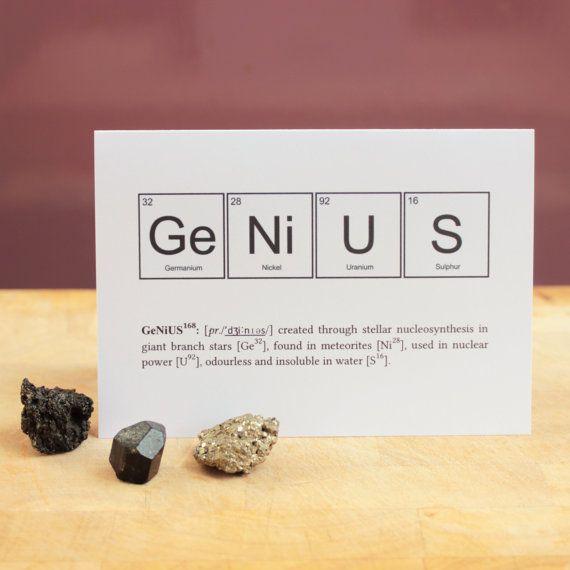 FUNNY GENIUS ELEMENTS Card Periodic Table Greeting University - new periodic table app.com