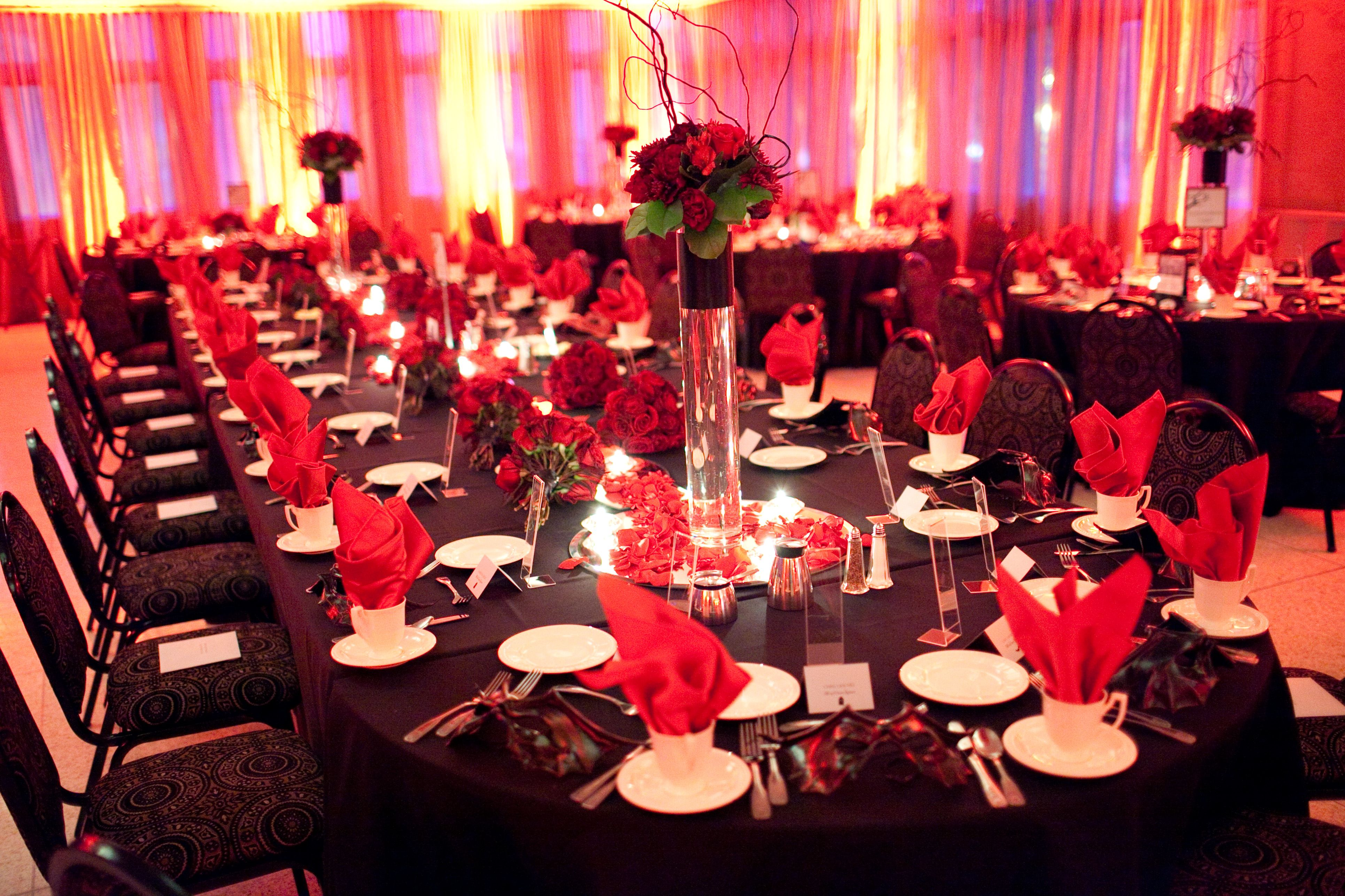 wedding reception places in twin cities%0A Black and Red theme decor  Photo by Randi   minnesota  wedding  decor