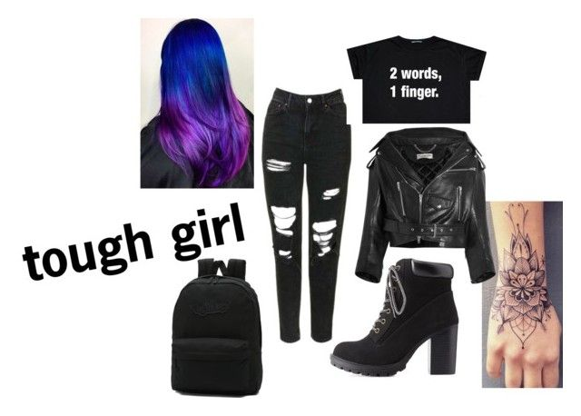 """""""tough girl"""" by ollie2640 ❤ liked on Polyvore featuring Topshop, Charlotte Russe, Balenciaga and Vans"""